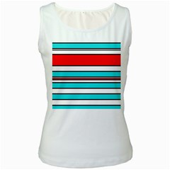 Blue, red, and white lines Women s White Tank Top