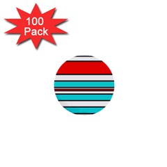 Blue, red, and white lines 1  Mini Buttons (100 pack)