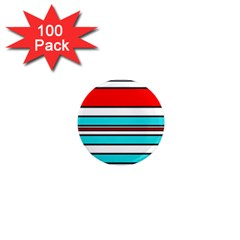 Blue, red, and white lines 1  Mini Magnets (100 pack)