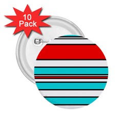 Blue, red, and white lines 2.25  Buttons (10 pack)