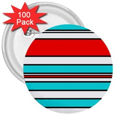 Blue, red, and white lines 3  Buttons (100 pack)