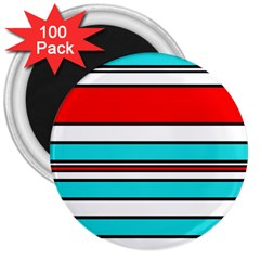 Blue, red, and white lines 3  Magnets (100 pack)