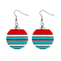 Blue, red, and white lines Mini Button Earrings