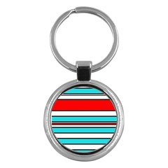 Blue, red, and white lines Key Chains (Round)