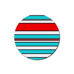 Blue, red, and white lines Rubber Round Coaster (4 pack)