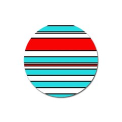 Blue, red, and white lines Magnet 3  (Round)