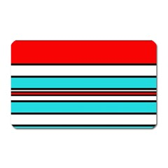 Blue, red, and white lines Magnet (Rectangular)
