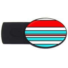 Blue, red, and white lines USB Flash Drive Oval (2 GB)