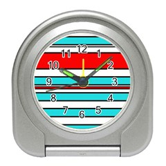 Blue, red, and white lines Travel Alarm Clocks