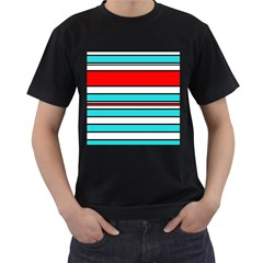 Blue, red, and white lines Men s T-Shirt (Black) (Two Sided)