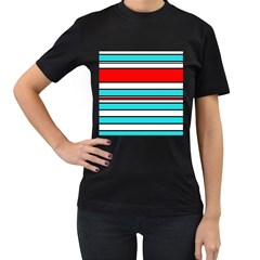 Blue, red, and white lines Women s T-Shirt (Black) (Two Sided)