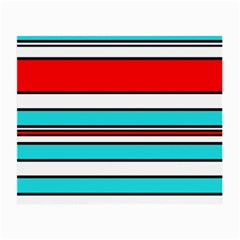 Blue, red, and white lines Small Glasses Cloth