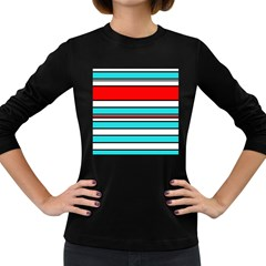 Blue, red, and white lines Women s Long Sleeve Dark T-Shirts