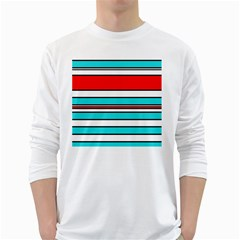 Blue, red, and white lines White Long Sleeve T-Shirts