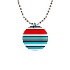 Blue, red, and white lines Button Necklaces