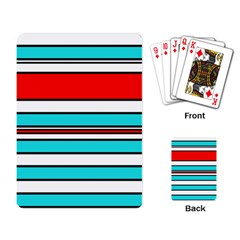 Blue, red, and white lines Playing Card
