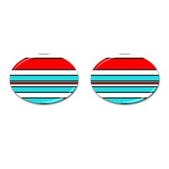 Blue, red, and white lines Cufflinks (Oval)