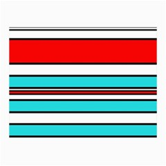 Blue, red, and white lines Collage Prints