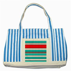 Blue, red, and white lines Striped Blue Tote Bag