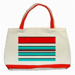 Blue, red, and white lines Classic Tote Bag (Red)