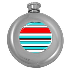 Blue, red, and white lines Round Hip Flask (5 oz)