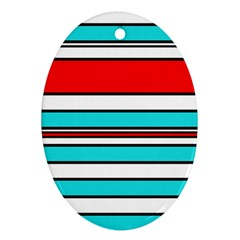 Blue, red, and white lines Oval Ornament (Two Sides)