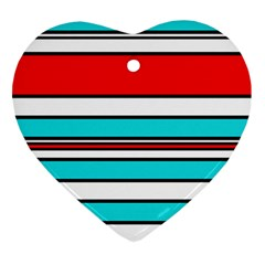 Blue, red, and white lines Heart Ornament (2 Sides)