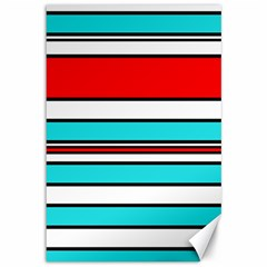 Blue, red, and white lines Canvas 12  x 18