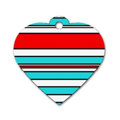 Blue, red, and white lines Dog Tag Heart (One Side)