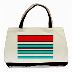 Blue, red, and white lines Basic Tote Bag (Two Sides)