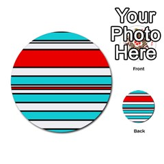 Blue, red, and white lines Multi-purpose Cards (Round)