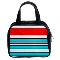 Blue, red, and white lines Classic Handbags (2 Sides)