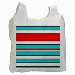 Blue, red, and white lines Recycle Bag (One Side)