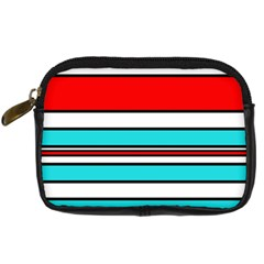 Blue, red, and white lines Digital Camera Cases