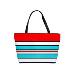 Blue, red, and white lines Shoulder Handbags