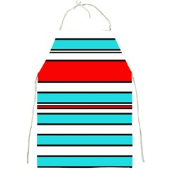 Blue, red, and white lines Full Print Aprons