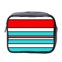 Blue, red, and white lines Mini Toiletries Bag 2-Side
