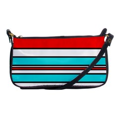 Blue, red, and white lines Shoulder Clutch Bags