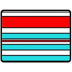 Blue, red, and white lines Fleece Blanket (Large)
