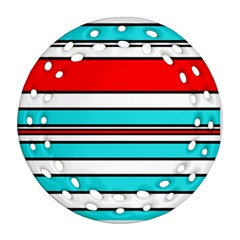 Blue, red, and white lines Ornament (Round Filigree)