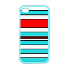 Blue, red, and white lines Apple iPhone 4 Case (Color)