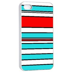 Blue, red, and white lines Apple iPhone 4/4s Seamless Case (White)