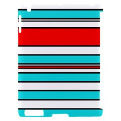 Blue, red, and white lines Apple iPad 2 Hardshell Case (Compatible with Smart Cover)