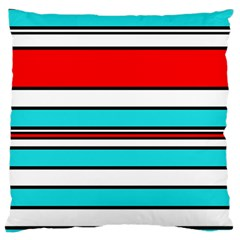 Blue, red, and white lines Large Cushion Case (Two Sides)