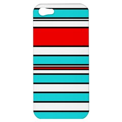 Blue, red, and white lines Apple iPhone 5 Hardshell Case