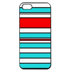 Blue, red, and white lines Apple iPhone 5 Seamless Case (Black)