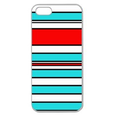 Blue, red, and white lines Apple Seamless iPhone 5 Case (Clear)