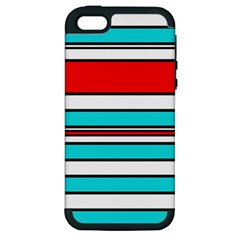 Blue, red, and white lines Apple iPhone 5 Hardshell Case (PC+Silicone)