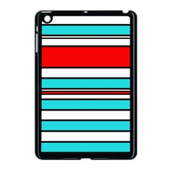 Blue, red, and white lines Apple iPad Mini Case (Black)