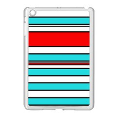 Blue, red, and white lines Apple iPad Mini Case (White)